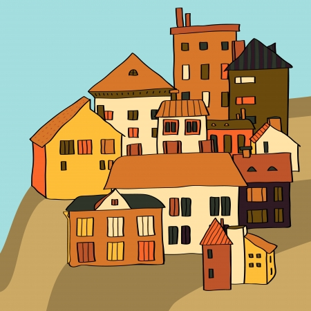 birds eye view: Small town various buildings on a hill composition, vector Illustration