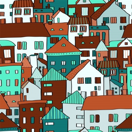 Panorama town various buildings in blue seamless pattern, vector Stock Vector - 17983619