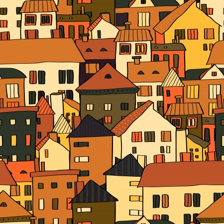 rooftop: Panorama town various buildings in brown seamless pattern, vector
