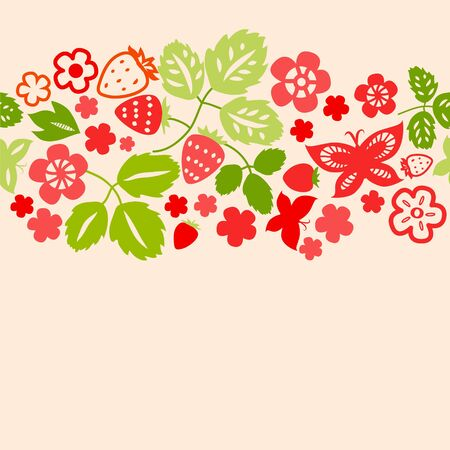 Red strawberry and leaves seamless background, vector Vector