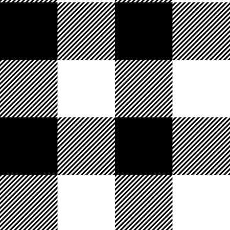 diagonal lines: Checkered black and white simple fabric seamless pattern, vector Illustration