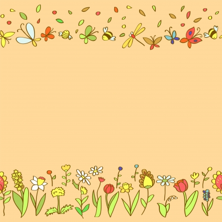 Colorful spring flowers seamless pattern, vector Vector