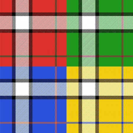 mod: Classic tartan fabric seamless pattern four color set, vector Illustration
