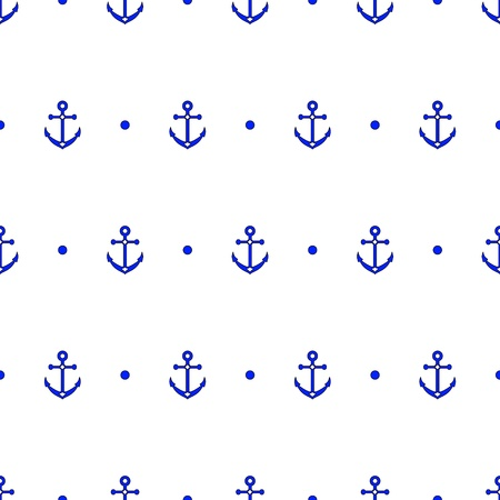 nautical vessel: Anchor and dot in blue and white seamless pattern