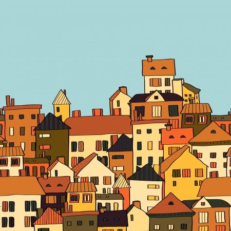 Panorama town in european style seamless pattern, orange and green.