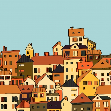 Panorama town in european style seamless pattern, orange and green. Vector