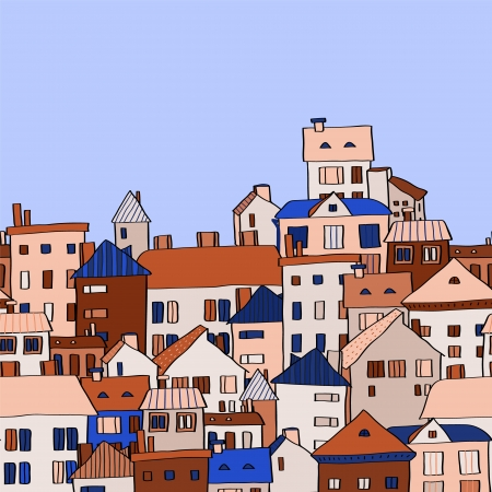 Panorama town in european style seamless pattern, blue and beige. Vector