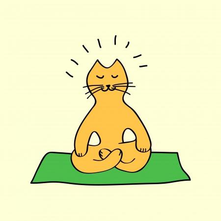 요가 위치, 벡터 귀여운 오렌지 만화 고양이