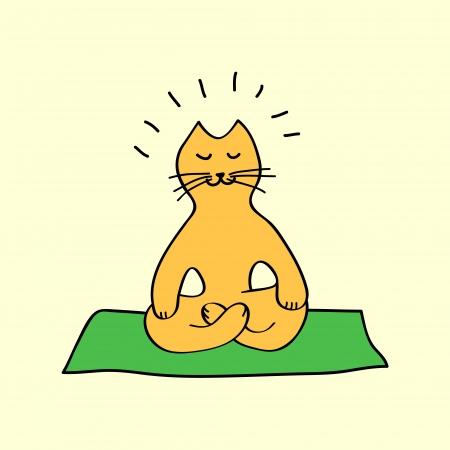 Cute orange cartoon cat in yoga position, vector Çizim