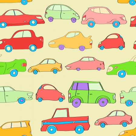 Cute colorful cartoon cars seamless pattern, vector Vector