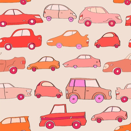 Cute cartoon cars in red seamless pattern, vector Vector