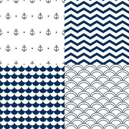 azul marino: Marina vector set patrones sin fisuras: vieiras, las olas, las anclas, chevron