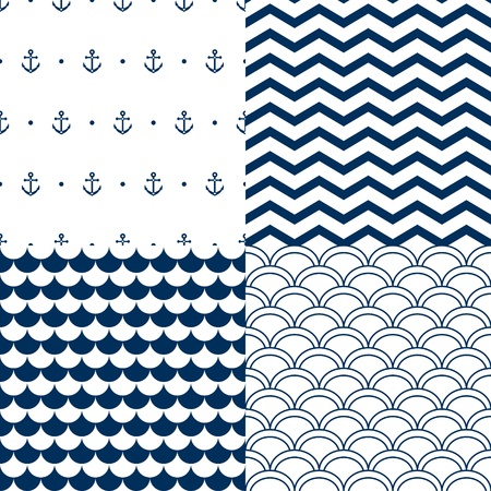 Navy vector seamless patterns set: scallop, waves, anchors, chevron Vector