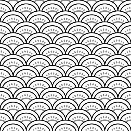 scallop: Traditional japanese waves ornament in black and white seamless pattern, vector