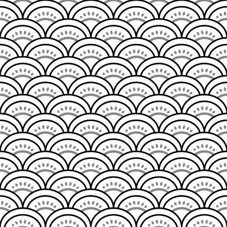petoncle: Traditionnel ornement japonais vagues dans seamless pattern noir et blanc, vecteur