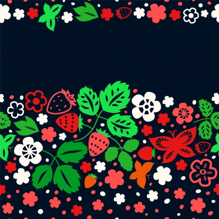 Colorful strawberry seamless pattern on dark background Stock Vector - 18128051