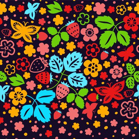 Colorful strawberry seamless pattern on dark background Vector
