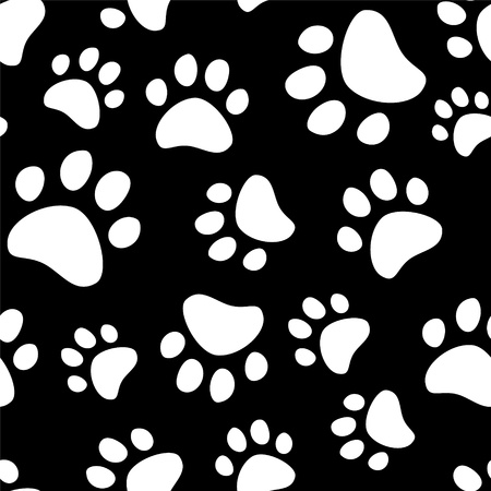 dog paw: Paw footprints of a dog or a cat seamless pattern  Illustration