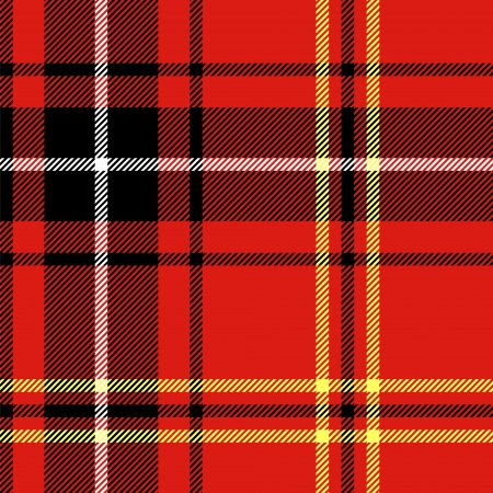 Tartan traditional checkered british fabric seamless pattern, black and red Vector