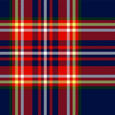 Tartan traditional checkered british fabric seamless pattern, blue and red, vector Vector