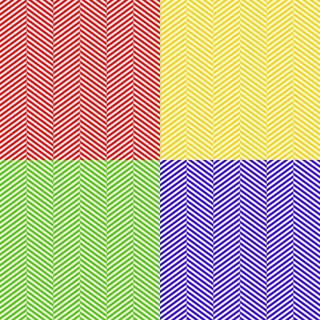Colorful herringbone fabric seamless patterns set, vector Vector