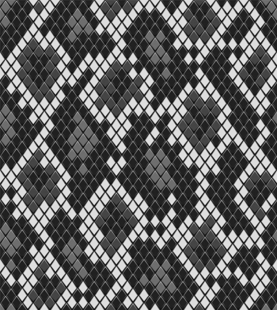 Snake reptile or crocodile skin seamless pattern in shades of grey, vector Vector