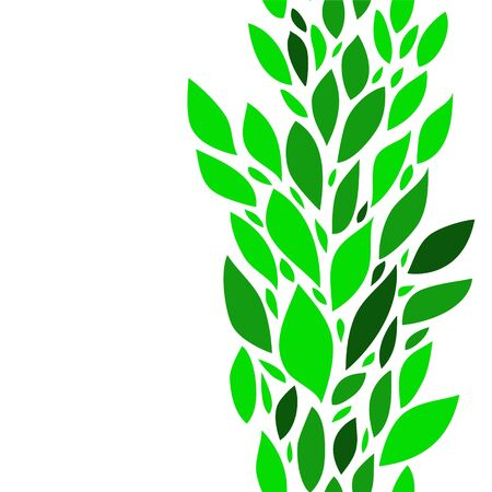 Colorful green leaves on white seamless background, vector Stock Vector - 18217018