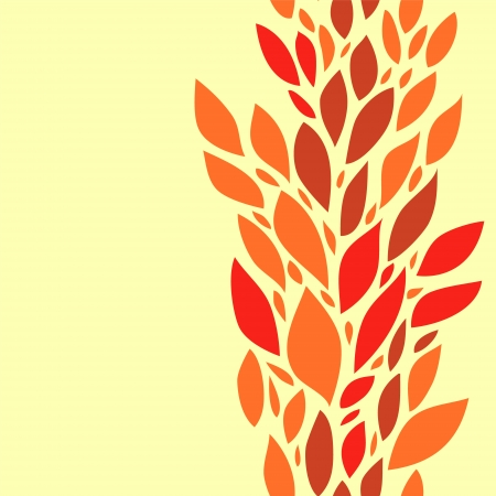 Colorful red leaves on yellow seamless background, vector Stock Vector - 18217019