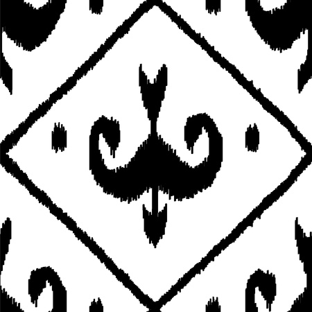 kilim: Middle east traditional ikat fabric seamless pattern in black and white Illustration
