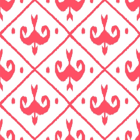 middle eastern clothes: Middle east traditional ikat fabric seamless pattern in pink and white, vector