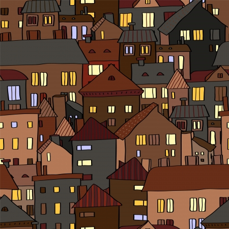 suburb: Panorama view old town at night in brown seamless pattern Illustration