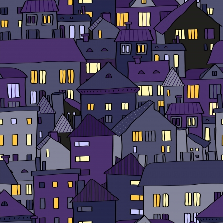 Panorama view old town at night in violet seamless pattern Vector