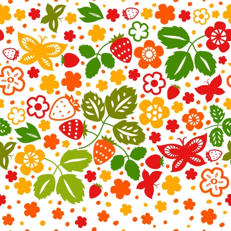 spring bed: Colorful strawberry flowers and butterflies seamless pattern