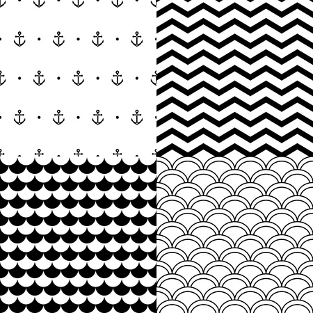 Black and white navy seamless patterns set: anchors, scalloped, chevron Illustration