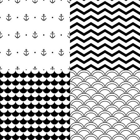 festonati: In bianco e nero navy modelli senza soluzione di continuit� set: ancore, smerlato, chevron