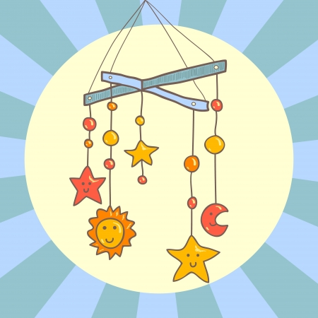 Baby crib hanging mobile toy on blue background card, vector Illustration