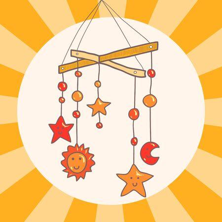 crib: Baby crib hanging mobile toy on orange background card, vector
