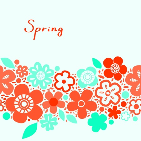 aqua flowers: Bright red and blue floral spring seamless background, vector