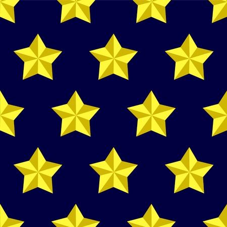 Shiny golden military stars on blue seamless pattern, vector Vector