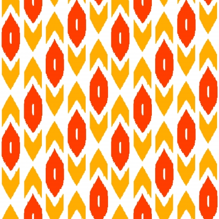 kilim: Ikat traditional middle east fabric in red seamless pattern, vector Illustration
