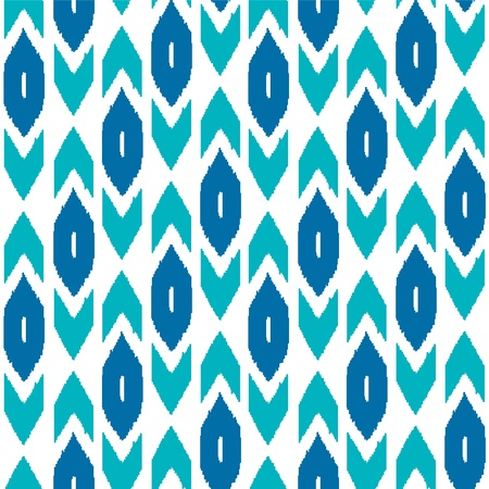 Ikat traditional middle east fabric in blue seamless pattern, vector Illustration