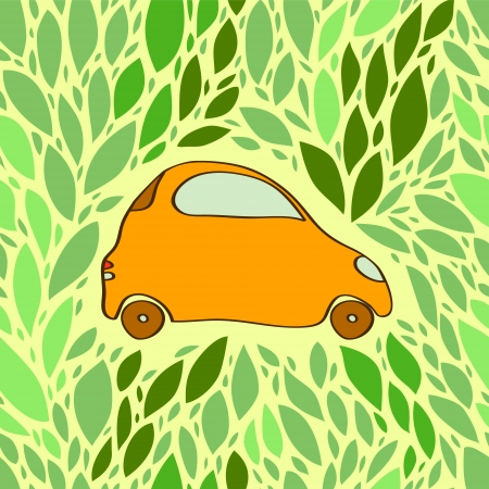 Small cute orange automobile surrounded by green leaves ecology concept  Vector