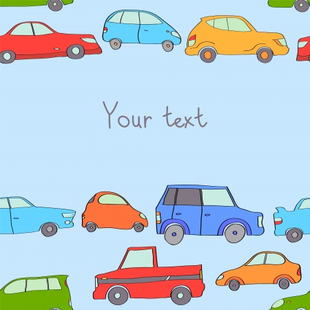 Colorful cute cars background with a place for your text  Vector