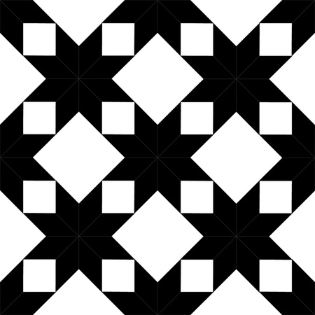 quilted fabric: Quilted star shape fabric seamless pattern in black and white, vector Illustration