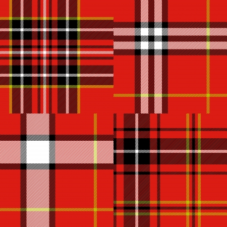 Scottish traditional tartan fabric seamless pattern set in red and black and white, vector Vector