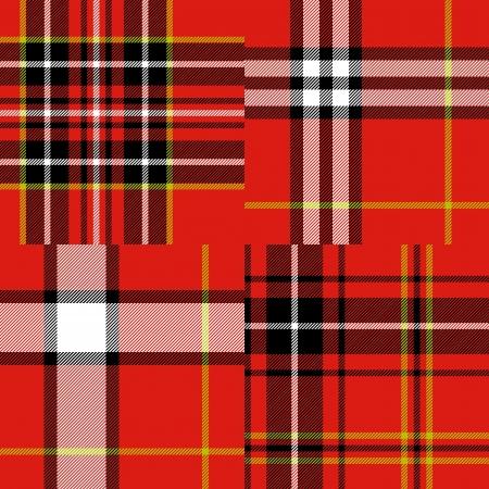 cuadros blanco y negro: Tart�n escoc�s tradicional modelo de la tela sin costura fijado en rojo y blanco y negro, vector