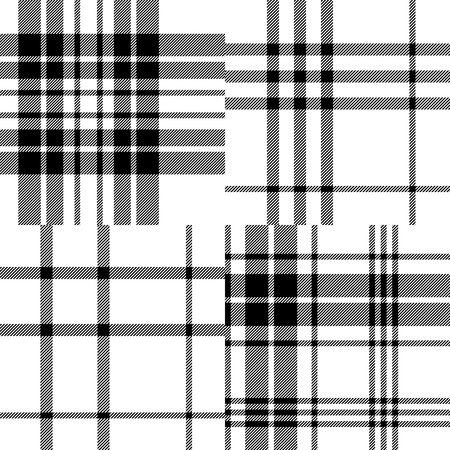 Scottish traditional tartan fabric seamless pattern set in black and white, vector Illustration