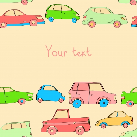 Doodle cute cars seamless background in pastel colors with a place for your text, vector Vector