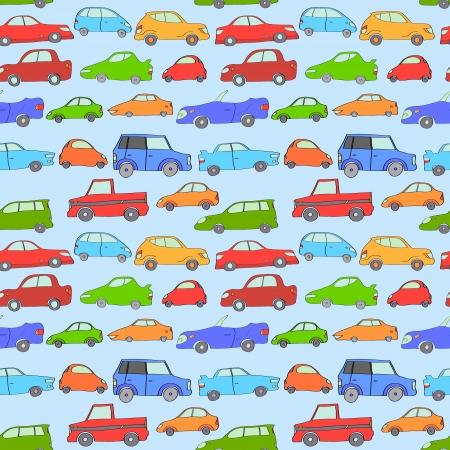hand jam: Cartoon cute cars seamless background on blue, vector
