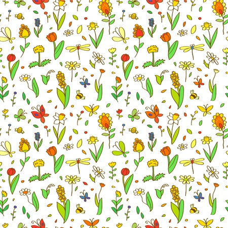 Fresh spring cartoon flowers seamless pattern on white, vector Vector